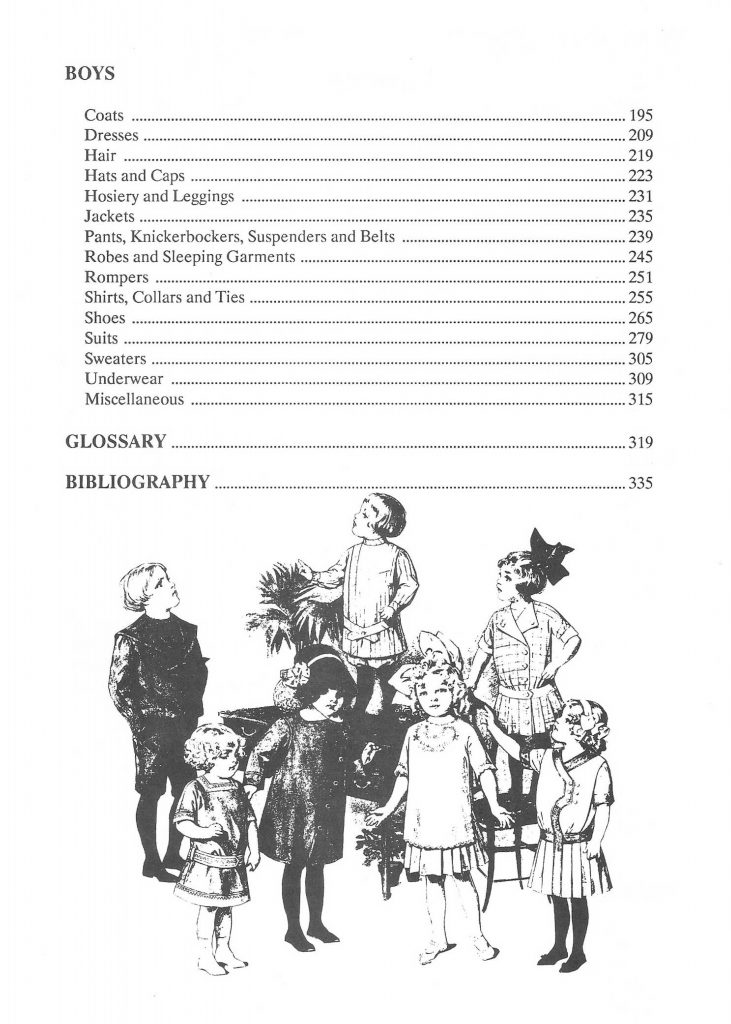 Reference Book of Children's Vintage Clothing 1900-1919 Table of Contents 02