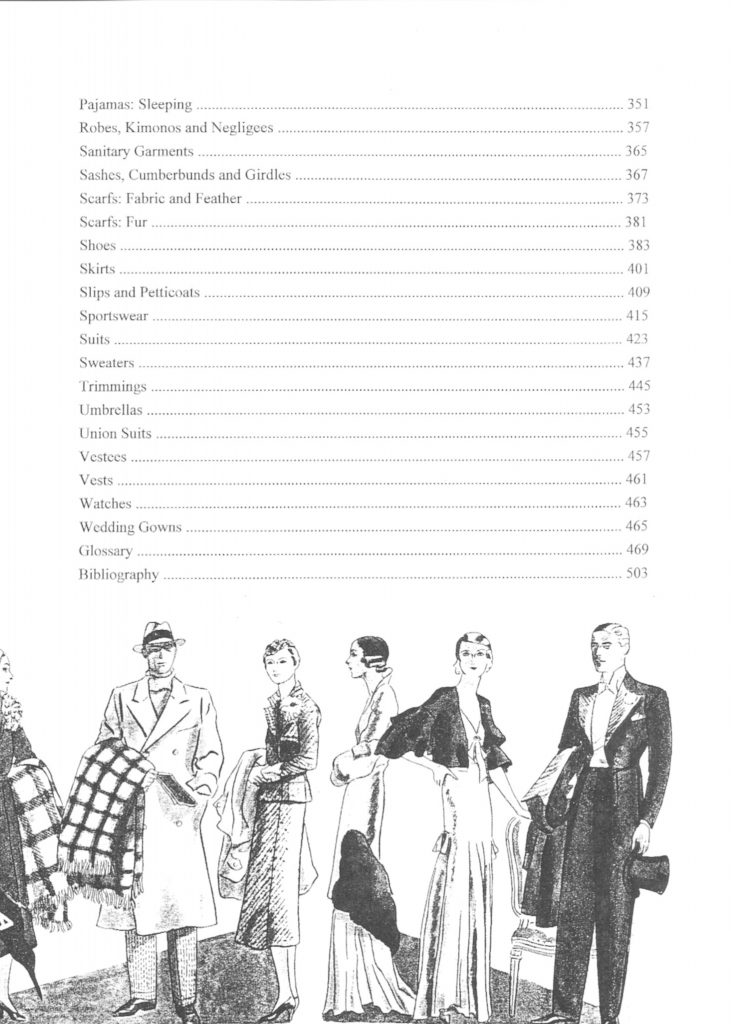 Reference Book of Women's Vintage Clothing 1930-1939 Table of Contents 02
